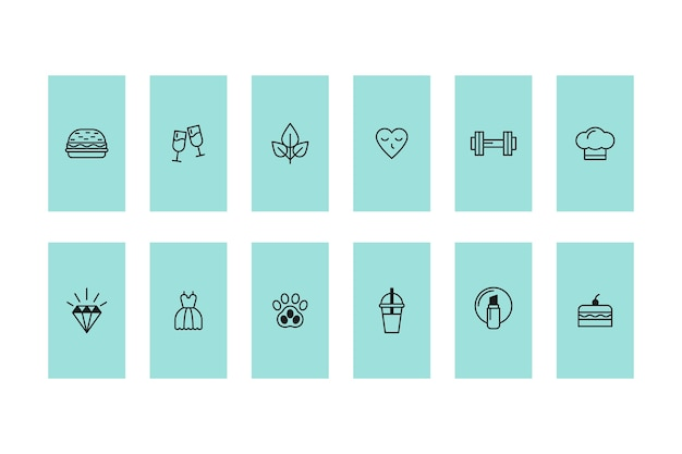 Destacados de historias de íconos de instagram Vector Premium
