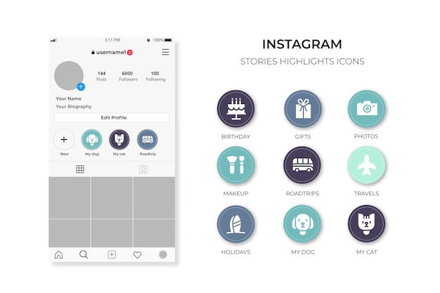 Destacados de historias de íconos de instagram vector gratuito