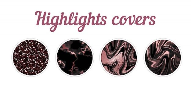 Destaque el conjunto grande de la cubierta, fondo mínimo de textura de mármol rosa Vector Premium