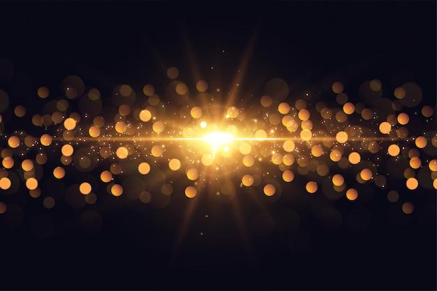 Destello de luces brillantes destellos de fondo dorado bokeh vector gratuito