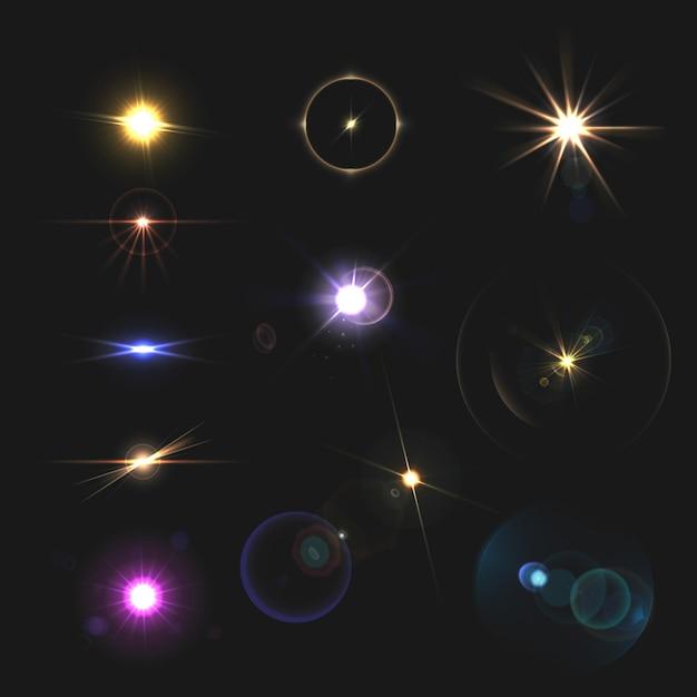 Destellos de lente y vigas de color realista conjunto aislado vector gratuito