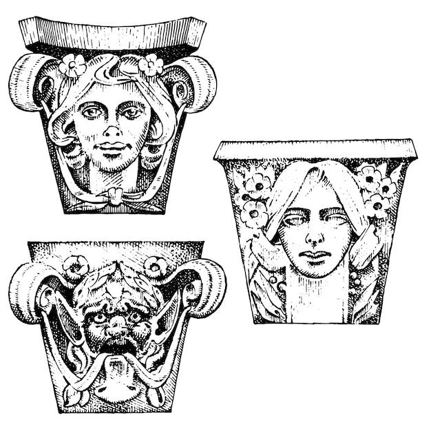 Detalle antiguo edificio clásico. elementos ornamentales arquitectónicos. mostrando columnas toscanas, dóricas, jónicas y romanas. Vector Premium