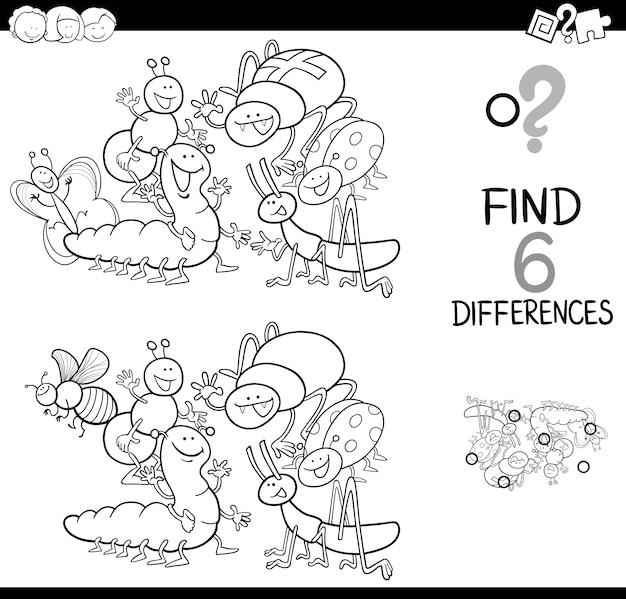 Detectar la diferencia con los insectos para colorear libro ...
