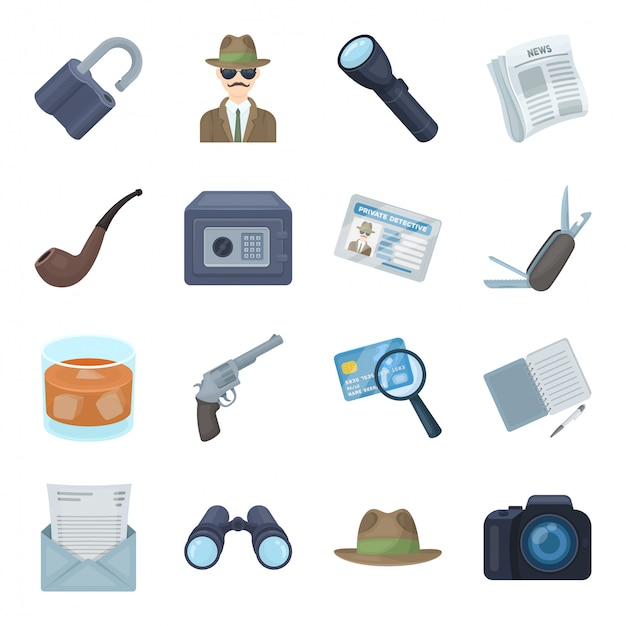 Detective cartoon set icon.crime and police isolated cartoon set icon. detective . Vector Premium