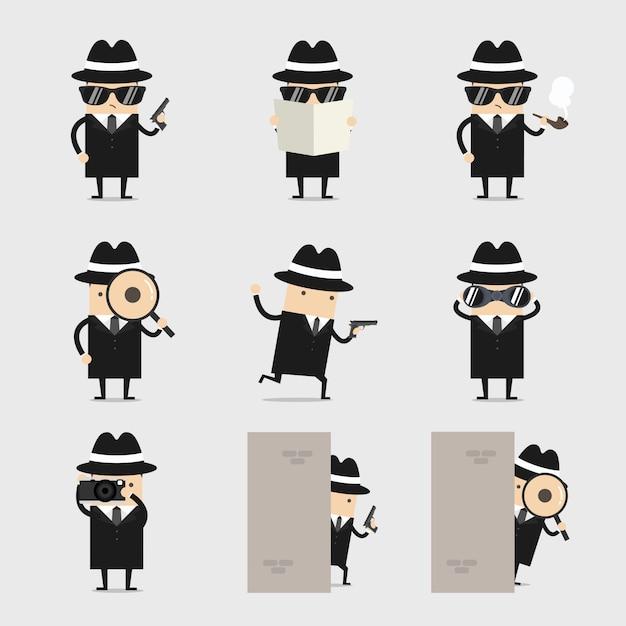 Detective conjunto de personajes de dibujos animados. Vector Premium