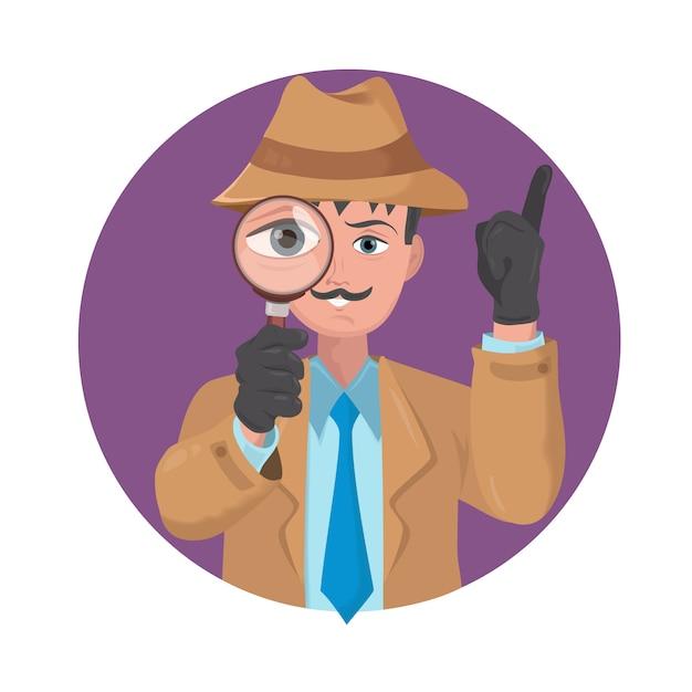 Detective mirando con lupa Vector Premium