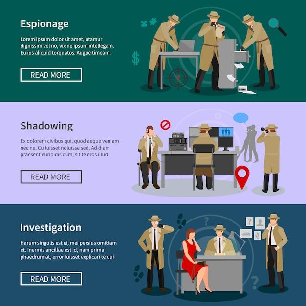 Detective spy banners horizontales vector gratuito