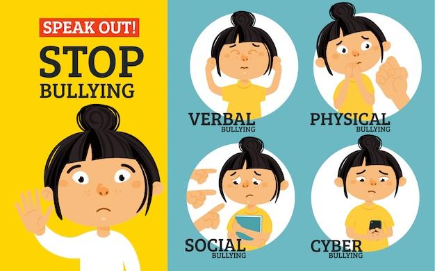 Detener el concepto de bullying Vector Premium