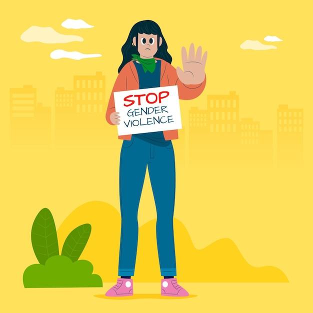 Detener el concepto de violencia de género vector gratuito