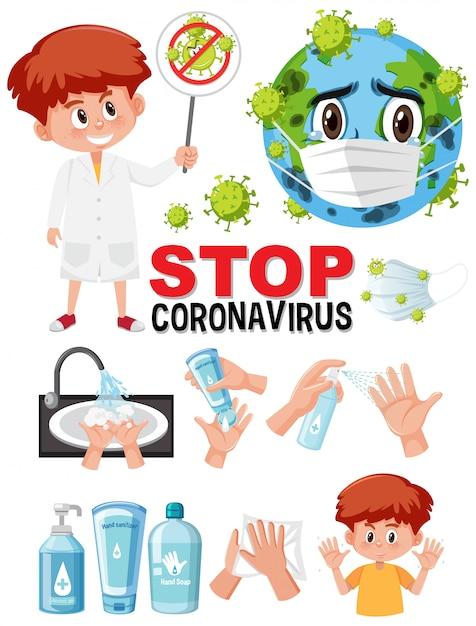 Detener la señal de texto del coronavirus con la mano usando productos desinfectantes Vector Premium