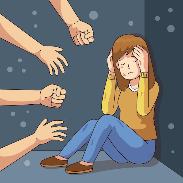 Detener el tema de ilustración de violencia de género Vector Premium
