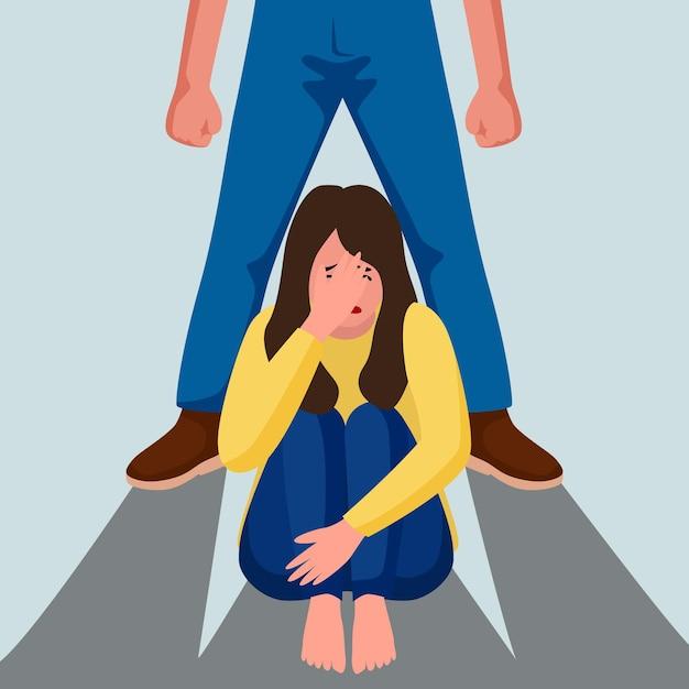 Detener la violencia de género con la mujer. vector gratuito