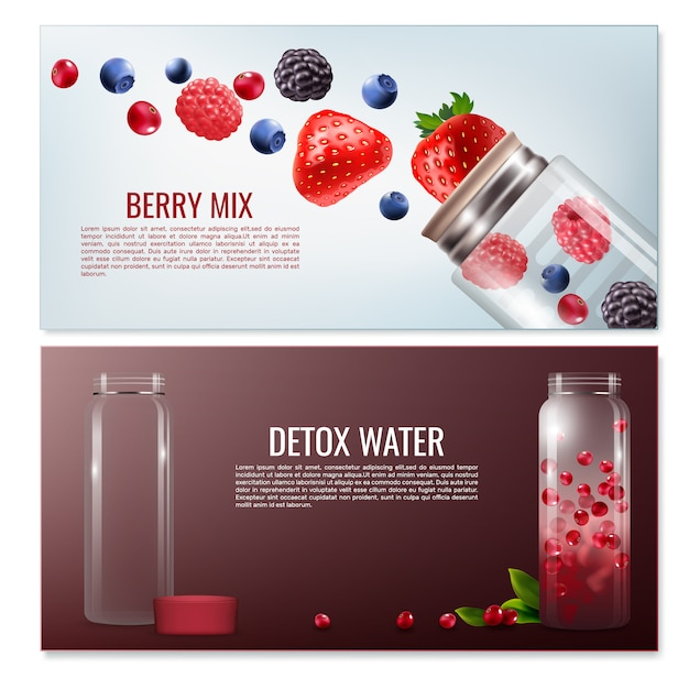 Detox bebidas banners horizontales vector gratuito