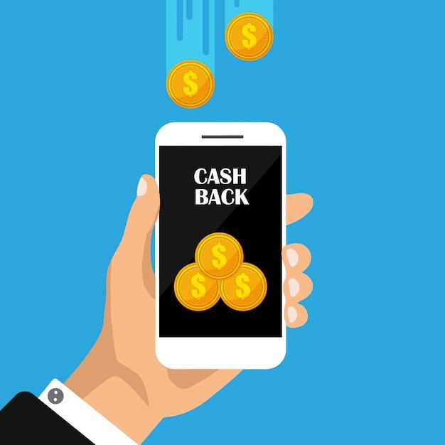 Devolución de efectivo en el teléfono. monedas de oro en smartphone, movimiento de dinero. devolución de dinero o reembolso de dinero. ilustración. Vector Premium