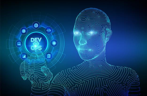 Devops desarrollo ágil y concepto de optimización. wireframed cyborg mano tocando la interfaz digital. Vector Premium