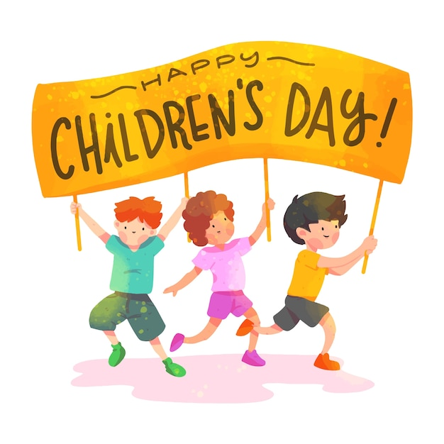 Día de la acuarela de los niños vector gratuito