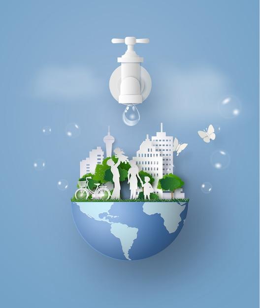 Dia del agua Vector Premium