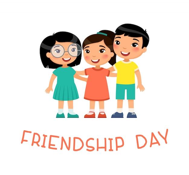 Dia de la amistad. dos muchachas asiáticas lindas y abrazo del muchacho. personaje de dibujos animados divertido Vector Premium