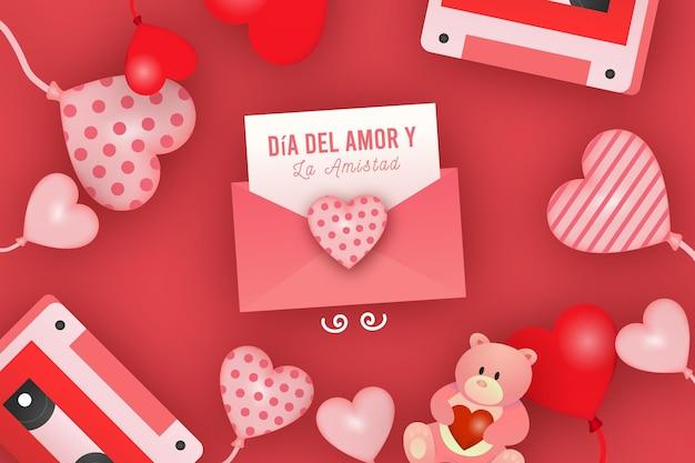 Día del amor y amistad con corazones vector gratuito
