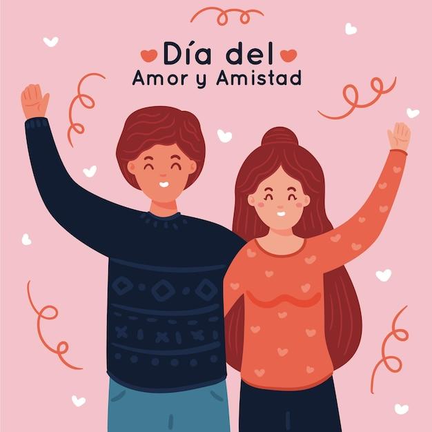 Día del amor y la amistad vector gratuito
