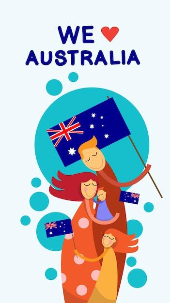 Dia de australia Vector Premium