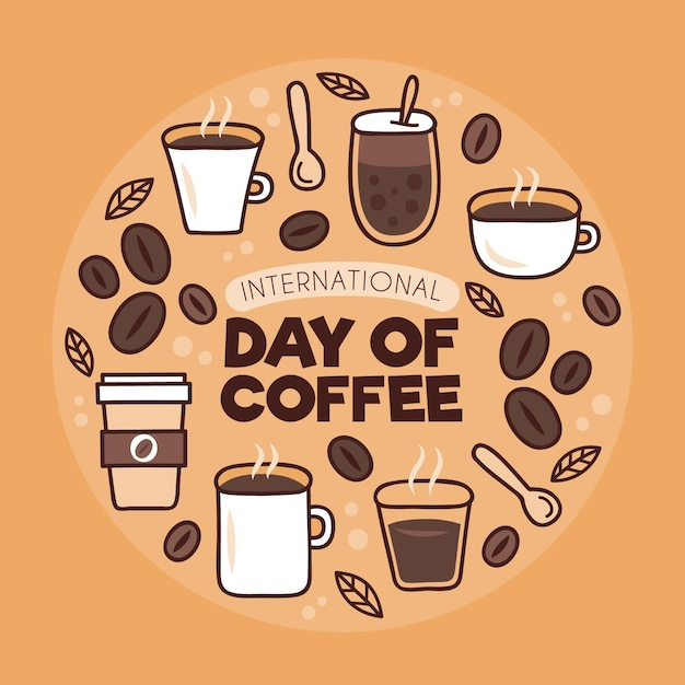 Día del café varios tipos de bebidas. vector gratuito