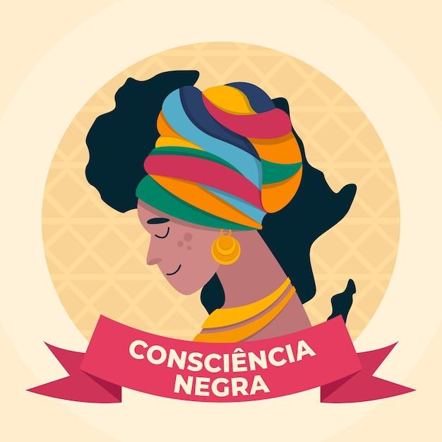 Día de la conciencia negra en diseño plano vector gratuito