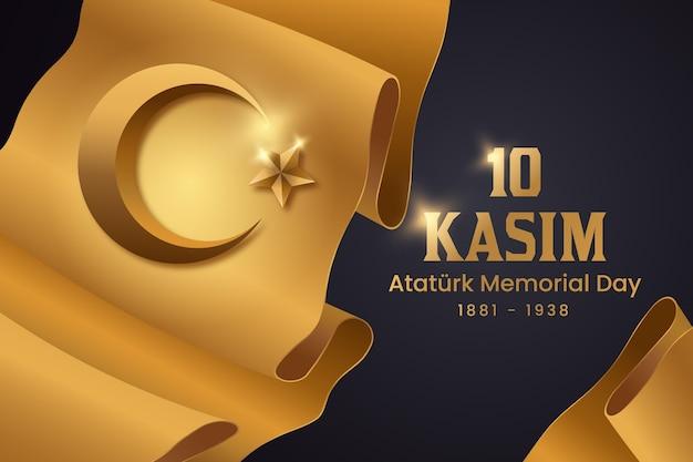 Día conmemorativo de atatürk negro y dorado Vector Premium