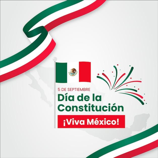 Día de la constitución de méxico con banderas vector gratuito