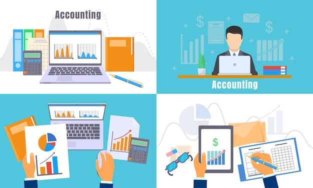 Día de la contabilidad internacional conjunto de banner. Vector Premium