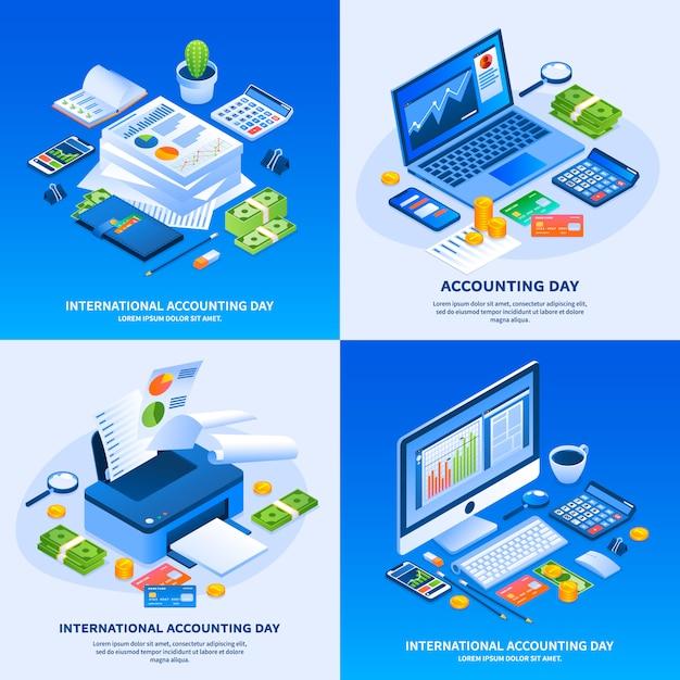 Día de la contabilidad internacional conjunto de banners Vector Premium
