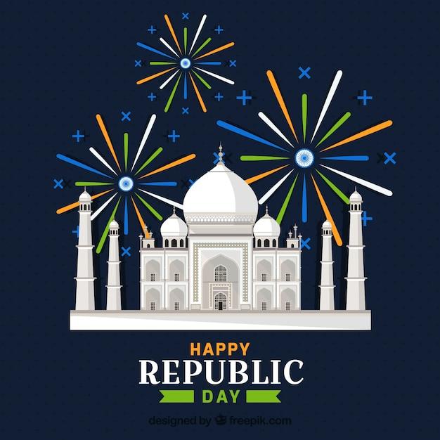 Día de la república de la india con taj mahal | Descargar Vectores ...