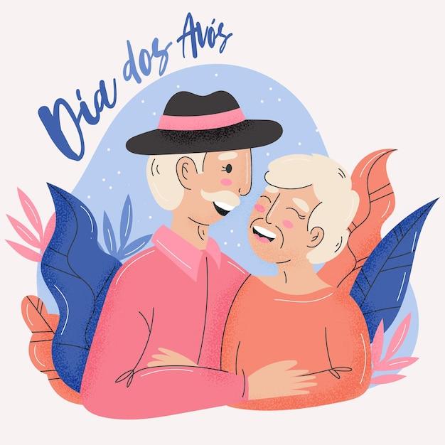 Dia dos avós ilustrado vector gratuito