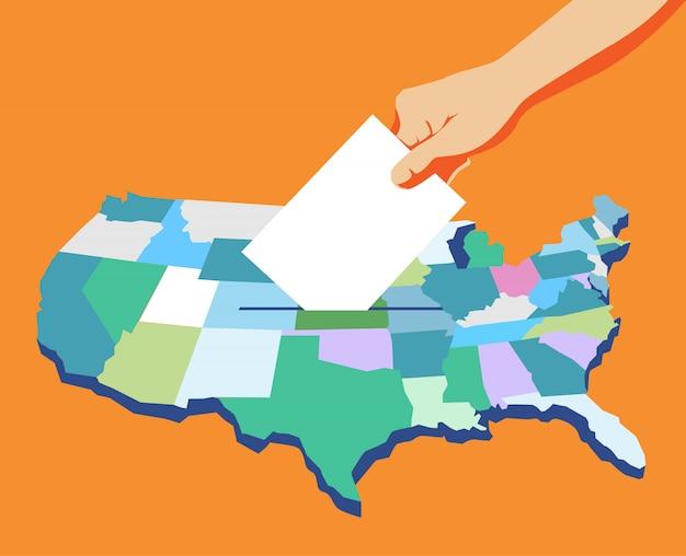 Día de las elecciones en estados unidos, mano con papeleta, voto, fondo de mapa estadounidense. Vector Premium
