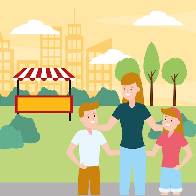 Día de la familia al aire libre vector gratuito