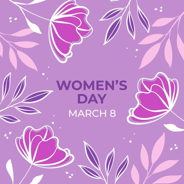 Día floral de la mujer con flores vector gratuito
