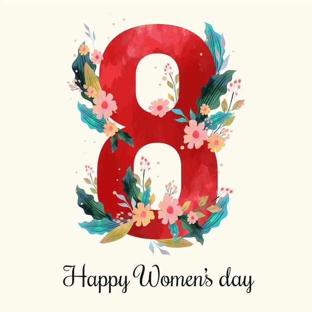 Día floral de la mujer vector gratuito