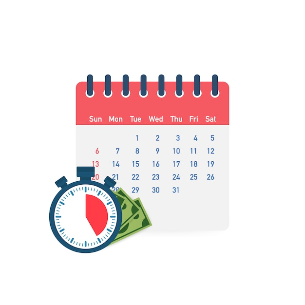 Día de impuestos. concepto de fecha de pago o préstamo de día de pago como un calendario con dinero. Vector Premium