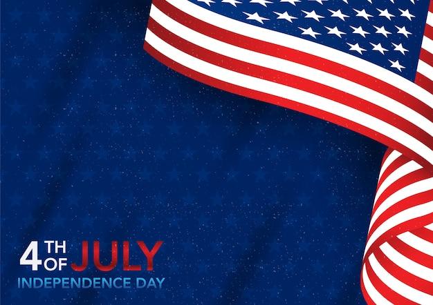 Día de la independencia del 4 de julio con bandera americana. Vector Premium