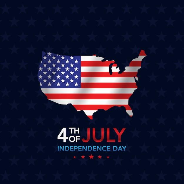 Día de la independencia 4 de julio con mapa. Vector Premium