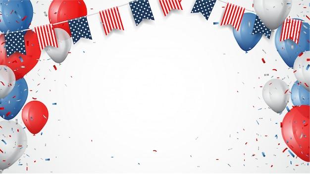 Día de la independencia de américa con confeti y fondo de cinta Vector Premium