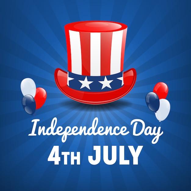 Día de la independencia americana. 4 de julio feriado en estados unidos. antecedentes del día de la independencia. ilustración vectorial Vector Premium