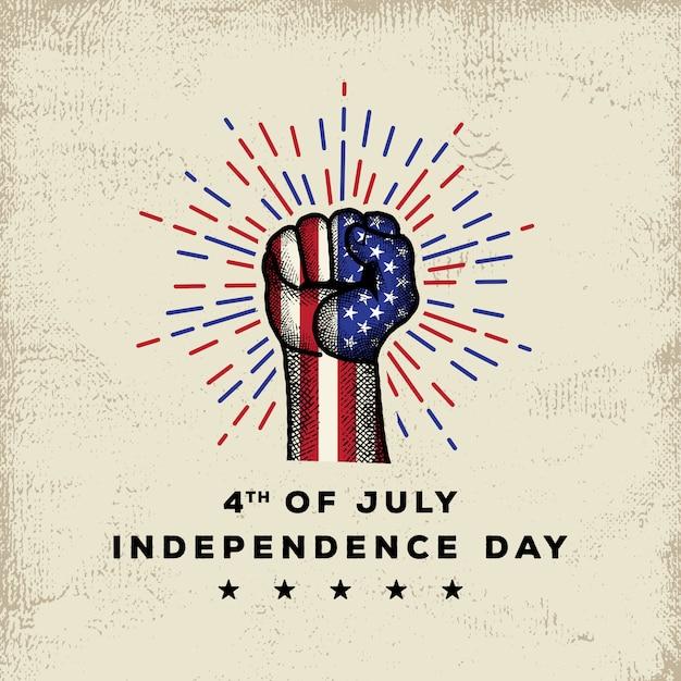 Día de la independencia americana con mano detallada dibujo premium vector Vector Premium