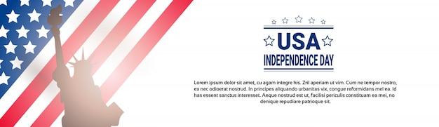 Día de la independencia de la bandera de estados unidos Vector Premium