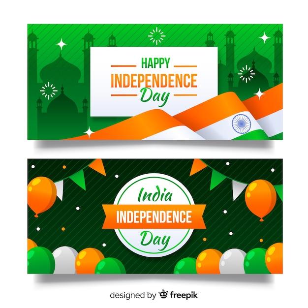 Día de la independencia del diseño plano de la bandera de la india vector gratuito