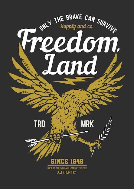 Día de la independencia del ejemplo del vector del escudo del emblema del águila de la libertad Vector Premium