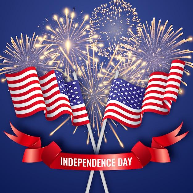 Día de la independencia de estados unidos con dos banderas nacionales americanas, cintas y fuegos artificiales. 4 de julio Vector Premium