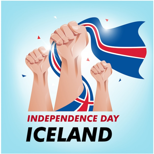 Dia de la independencia de islandia Vector Premium