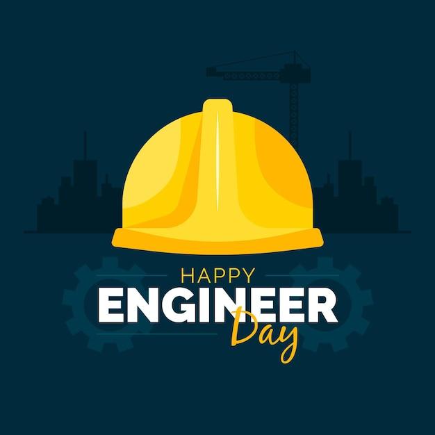 Día del ingeniero con casco de seguridad. Vector Premium