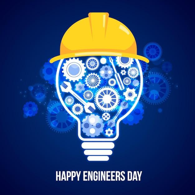 Día del ingeniero con herramientas y bombilla Vector Premium